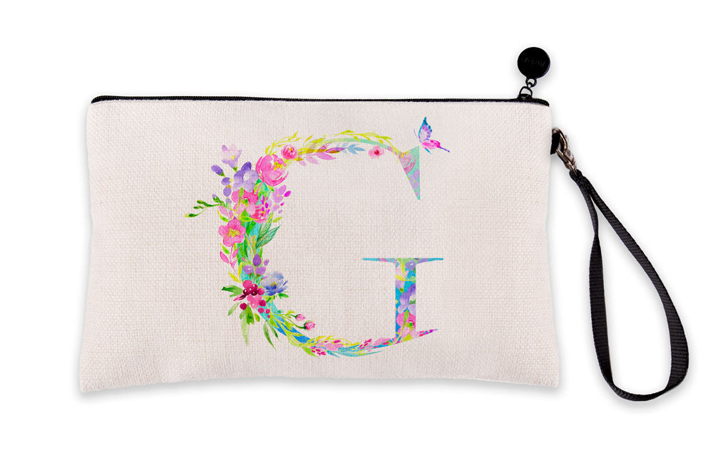 Floral Watercolor Monogram Letter G Makeup Bag
