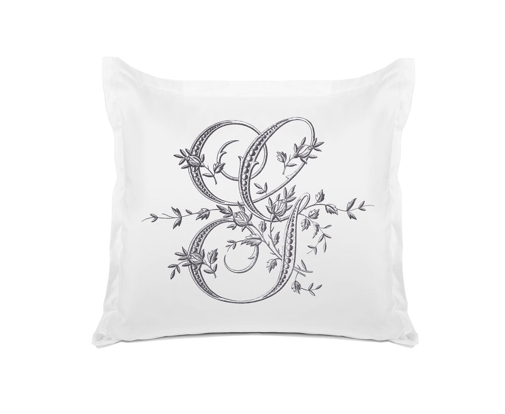 Vintage French Monogram Letter G Pillowcase