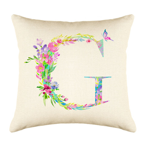 Floral Watercolor Monogram Letter G Throw Pillow Cover