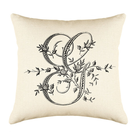 Vintage French Monogram Letter G Throw Pillow Cover