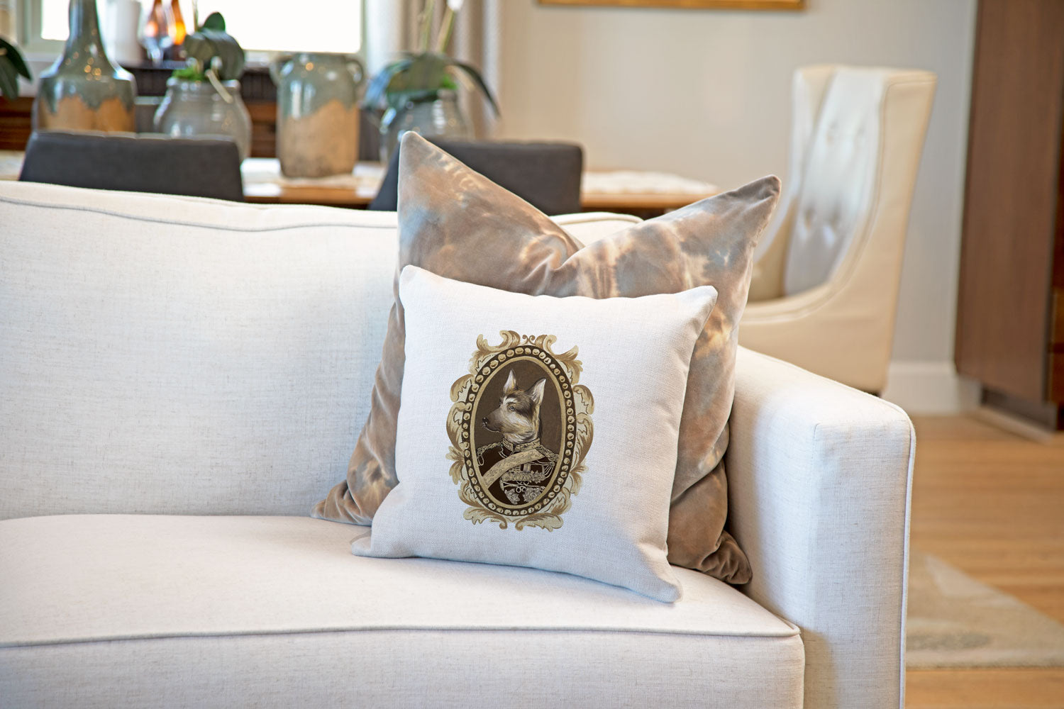 General Shepard Throw Pillow Cover - Dog Illustration Throw Pillow Cover Collection-Di Lewis