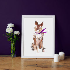 Sammy Shepard Art Print - Dog Illustrations Wall Art Collection