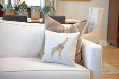 Gina Giraffe Throw Pillow Cover - Animal Illustrations Throw Pillow Cover Collection-Di Lewis