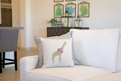 Gina Giraffe Throw Pillow Cover - Animal Illustrations Throw Pillow Cover Collection