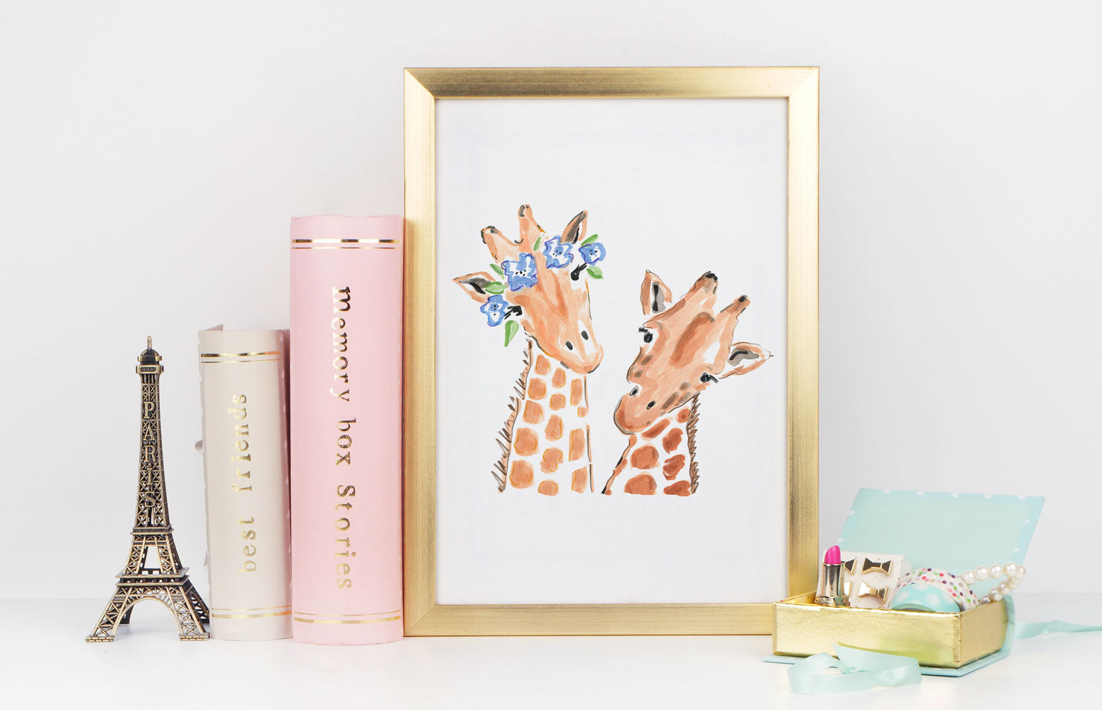 Gigi & Gerald Giraffe Art Print - Animal Illustrations Wall Art Collection-Di Lewis