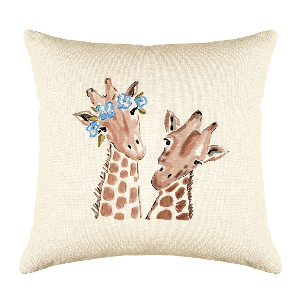 Gigi & Gerald Giraffe Throw Pillow Cover - Animal Illustrations Throw Pillow Cover Collection-Di Lewis