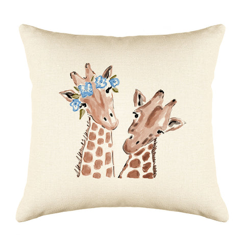 Gigi & Gerald Giraffe Throw Pillow Cover - Animal Illustrations Throw Pillow Cover Collection