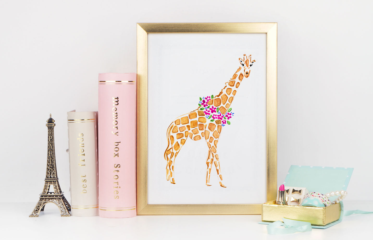 Gina Giraffe Art Print - Animal Illustrations Wall Art Collection
