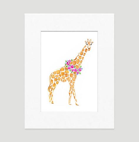 Gina Giraffe Art Print - Animal Illustrations Wall Art Collection-Matted-Di Lewis