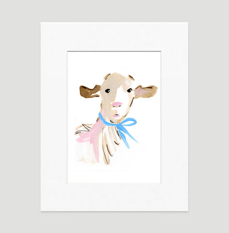 Billy Goat Art Print - Animal Illustrations Wall Art Collection-Matted-Di Lewis
