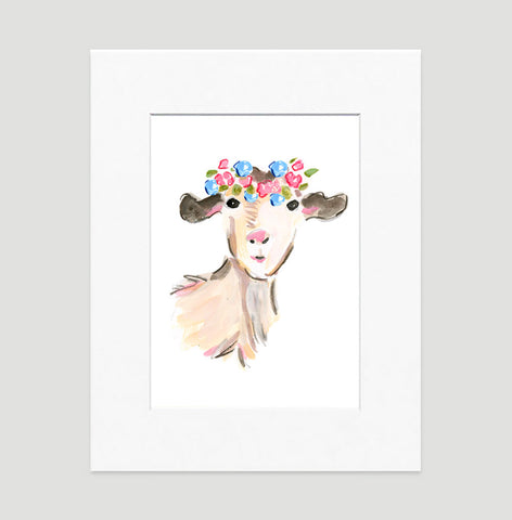 Nanny Goat Art Print - Animal Illustrations Wall Art Collection-Matted-Di Lewis