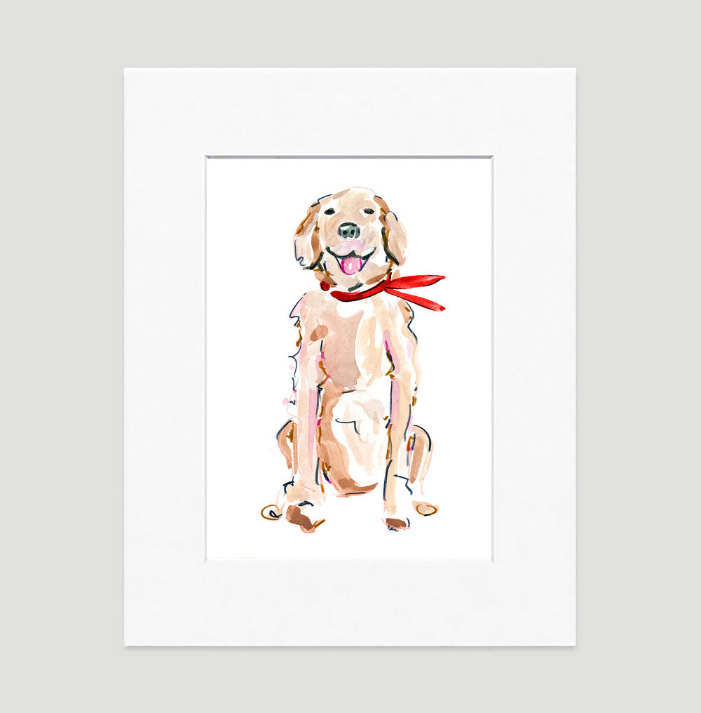 Rickie Retriever Art Print - Dog Illustrations Wall Art Collection-Di Lewis