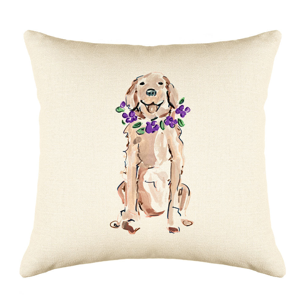 Goldie Retriever Throw Pillow Cover - Dog Illustration Throw Pillow Cover Collection