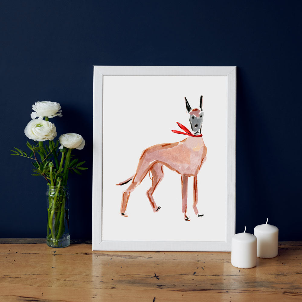 Duke Dane Art Print - Dog Illustrations Wall Art Collection-Room Setting-Di Lewis