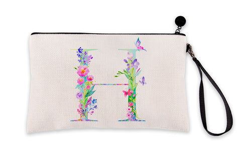 Floral Watercolor Monogram Letter H Makeup Bag