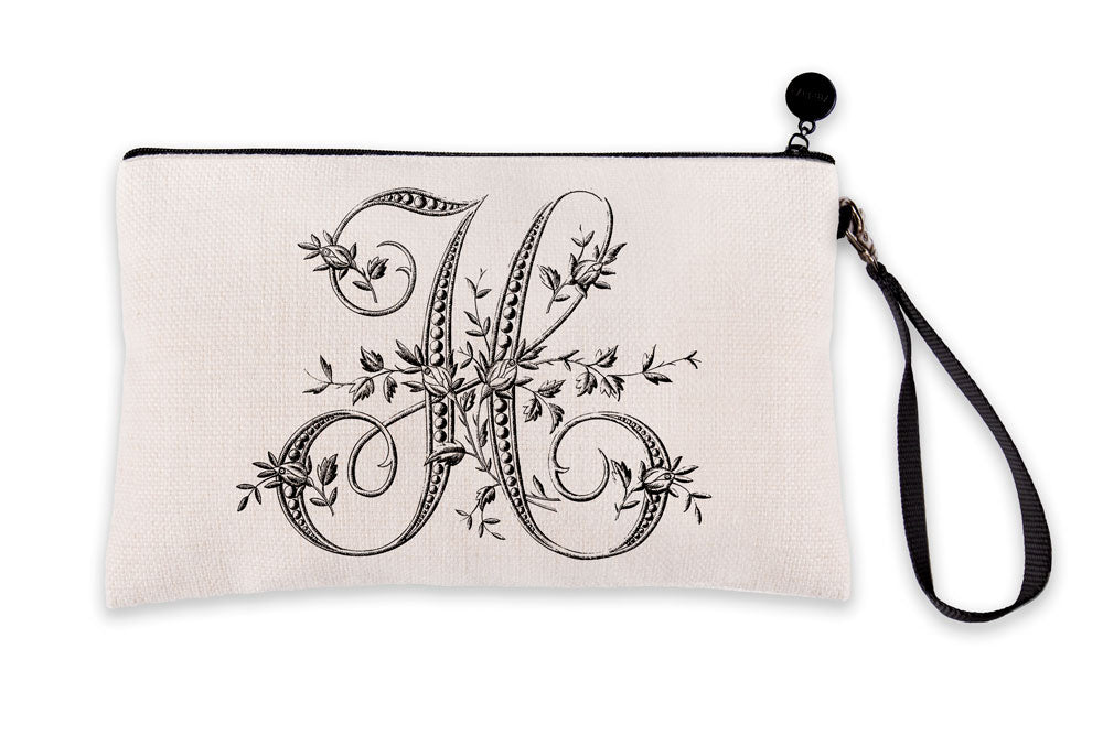 Vintage French Monogram Letter H Makeup Bag