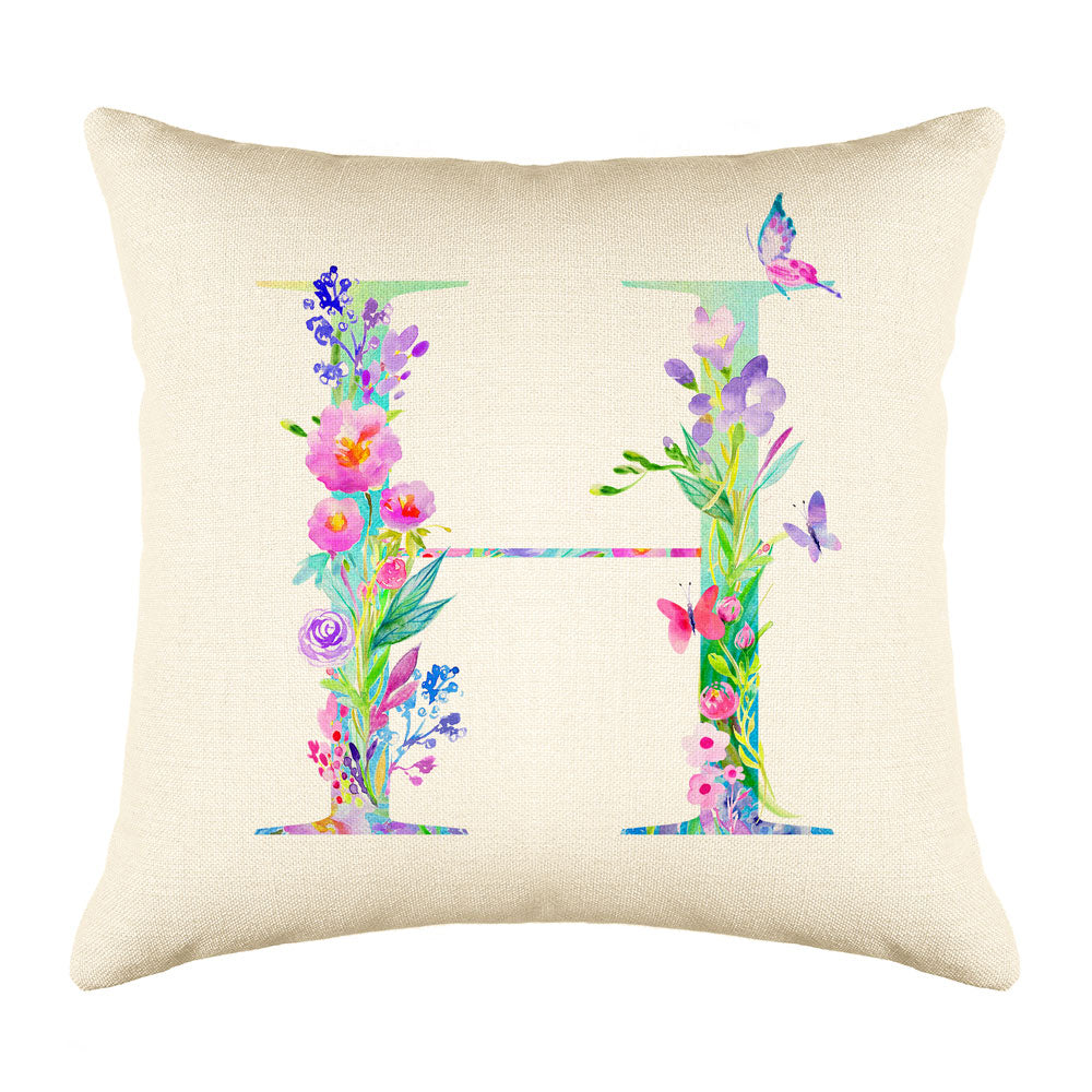 Floral Watercolor Monogram Letter H Throw Pillow Cover