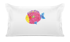 Happy Fish Personalized Kids Pillow case Di Lewis Kids Bedding