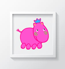 Henrietta Hippo Art Print - Kids Wall Art Collection-Di Lewis