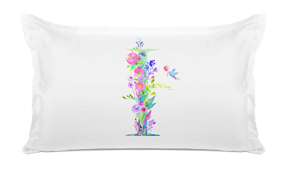 Floral Watercolor Monogram Letter I Pillowcase