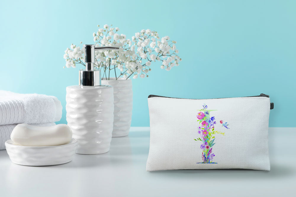 Floral Watercolor Monogram Letter I Makeup Bag
