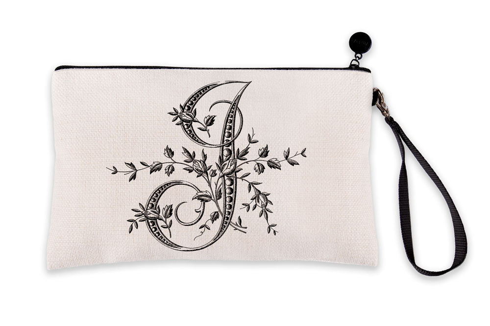 Vintage French Monogram Letter I Makeup Bag