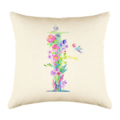 Floral Watercolor Monogram Letter I Throw Pillow Cover
