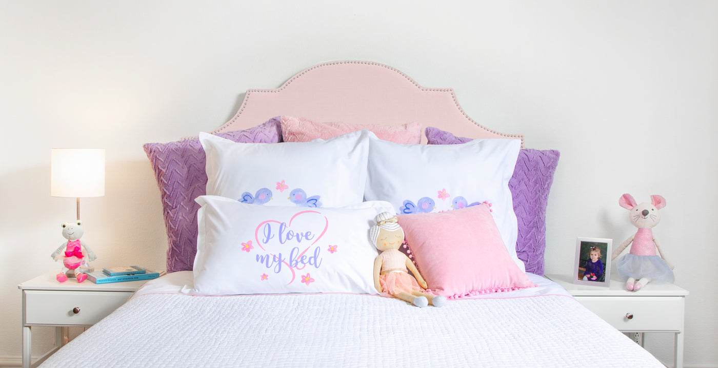 I Love My Bed quote pillow case Di Lewis bedroom decor