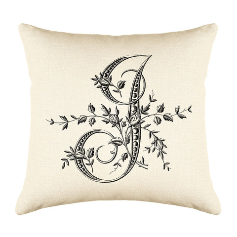 Vintage French Monogram Letter I Throw Pillow Cover