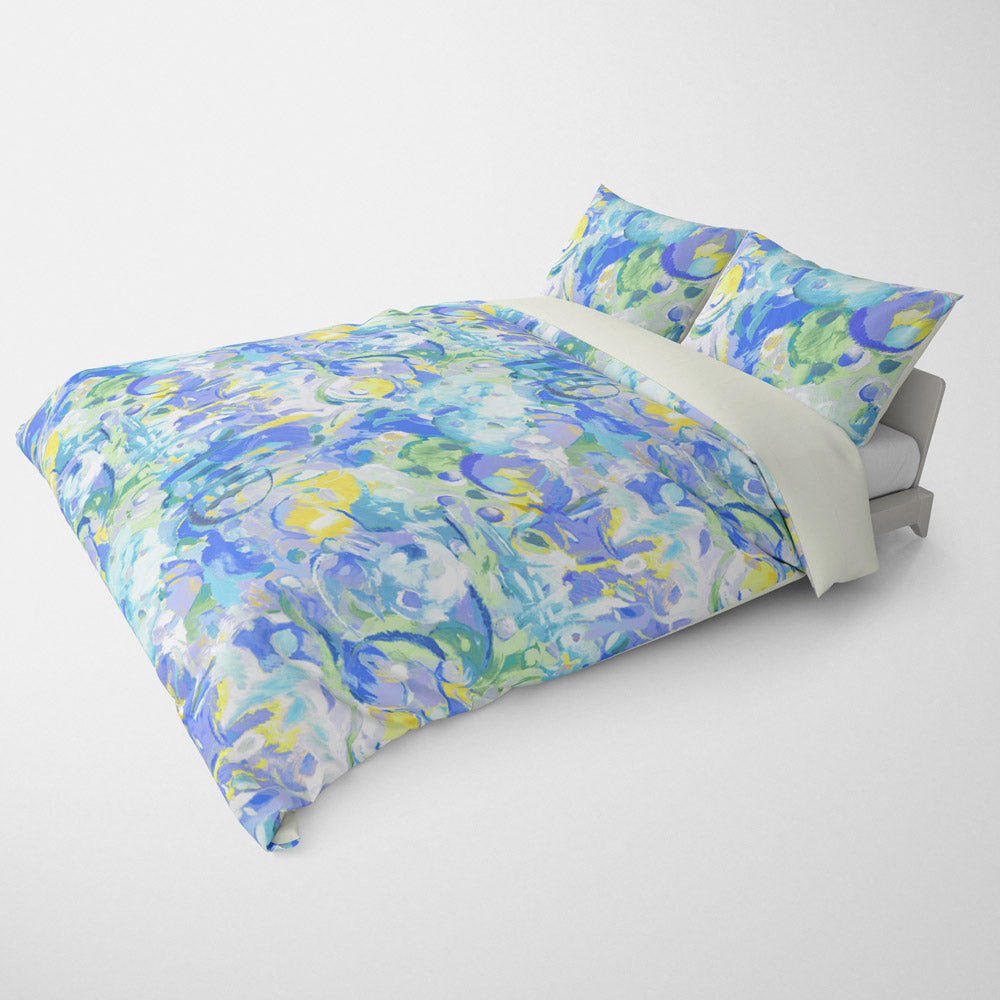 ABSTRACT DUVET COVERS & BEDDING SETS - IMAGINATION BLUE - GEOMETRIC DESIGN - HYPOALLERGENIC