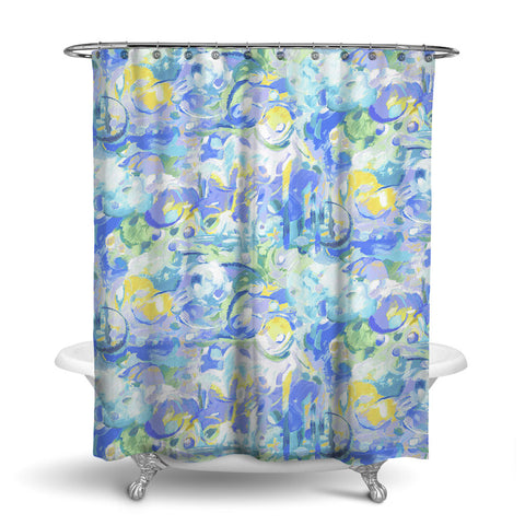 IMAGINATION - ABSTRACT SHOWER CURTAIN - BLUE - CONTEMPORARY DESIGN