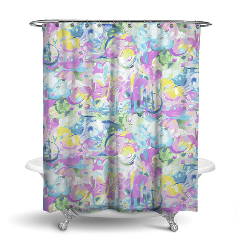 IMAGINATION - ABSTRACT SHOWER CURTAIN - LAVENDER - CONTEMPORARY DESIGN
