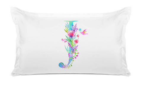 Floral Watercolor Monogram Letter J Pillowcase