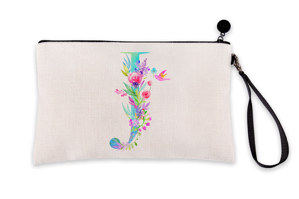 Floral Watercolor Monogram Letter J Makeup Bag