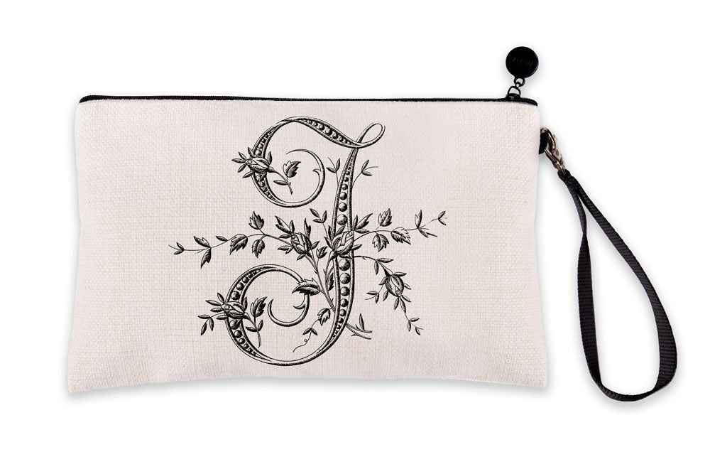 Vintage French Monogram Letter J Makeup Bag
