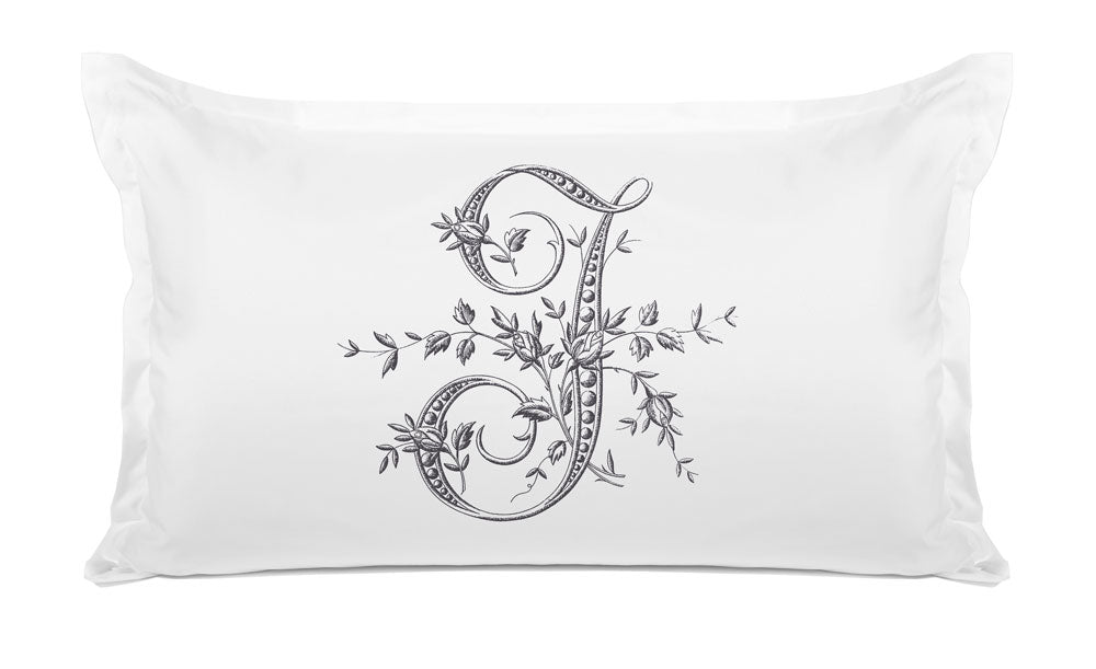 Vintage French Monogram Letter J Pillowcase