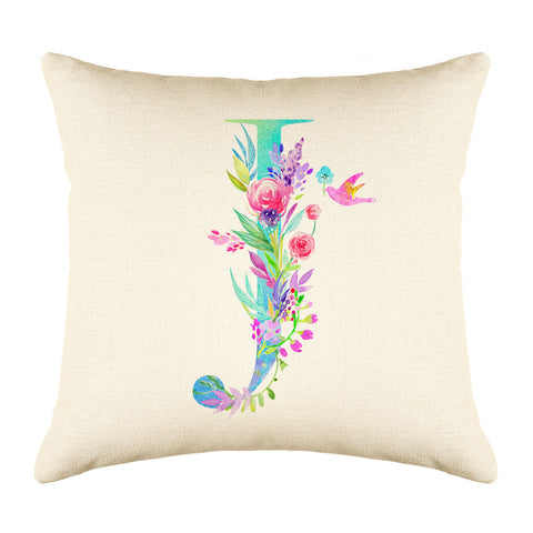 Floral Watercolor Monogram Letter J Throw Pillow Cover