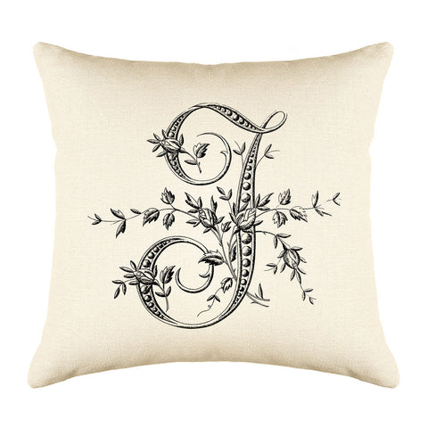 Vintage French Monogram Letter J Throw Pillow Cover