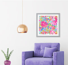 Jardin Pink Aqua Yellow Art Print - Impressionist Art Wall Decor Collection
