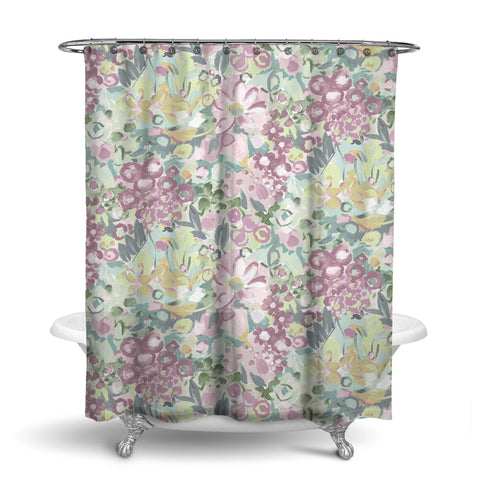 JARDIN - FLORAL SHOWER CURTAIN - AQUA ROSE GREY - FLOWER DESIGN
