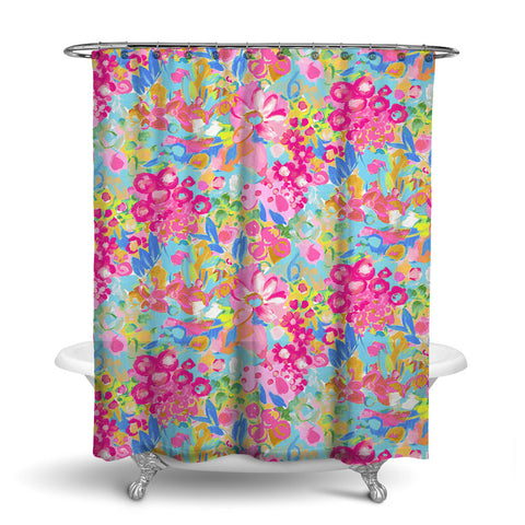 JARDIN - FLORAL SHOWER CURTAIN - PINK AQUA YELLOW - FLOWER DESIGN