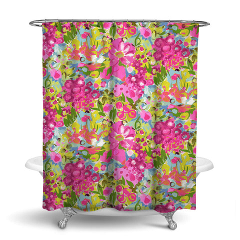 JARDIN - FLORAL SHOWER CURTAIN - PINK BLUE GREEN - FLOWER DESIGN