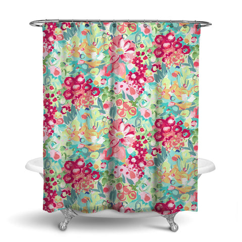 JARDIN - FLORAL SHOWER CURTAIN - PINK CORAL GREEN - FLOWER DESIGN