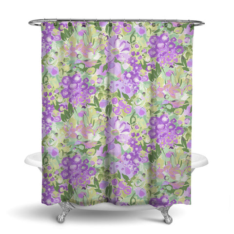 JARDIN - FLORAL SHOWER CURTAIN - PURPLE GREEN - FLOWER DESIGN