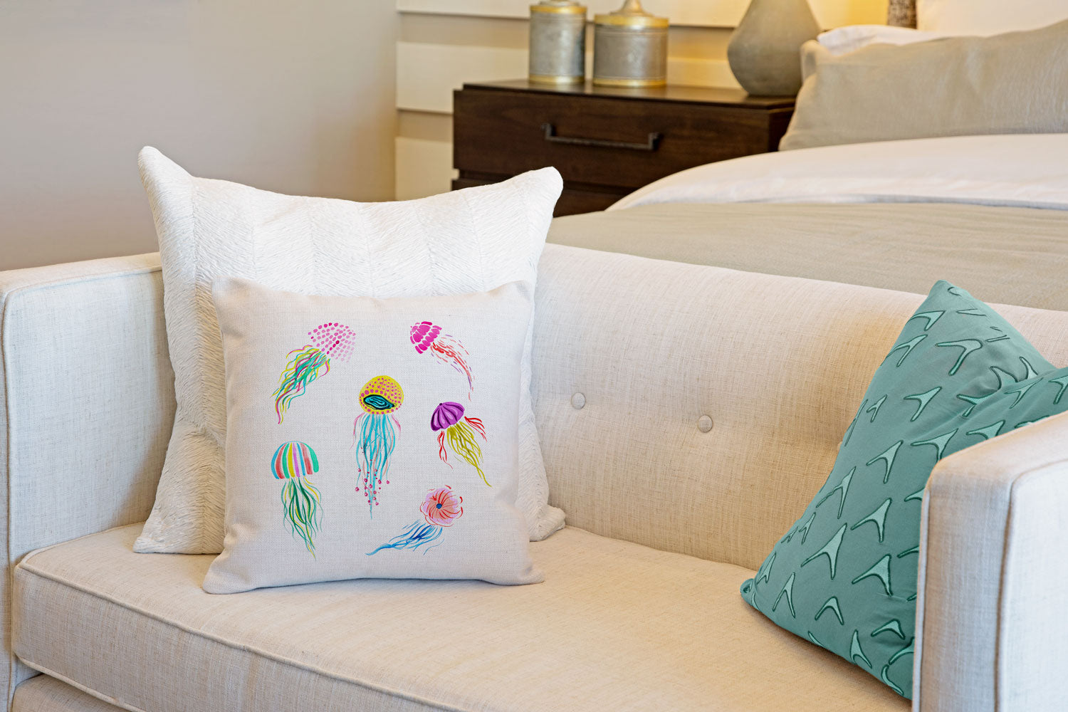 Jellyfish Throw Pillow Cover - Coastal Designs Throw Pillow Cover Collection-Di Lewis