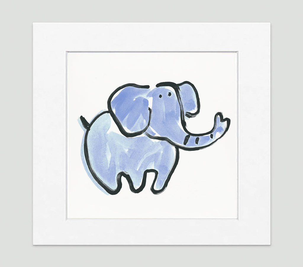 Blue Jumbo Elephant - Kids Bedroom Wall Art Collection-Di Lewis