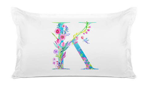 Floral Watercolor Monogram Letter K Pillowcase