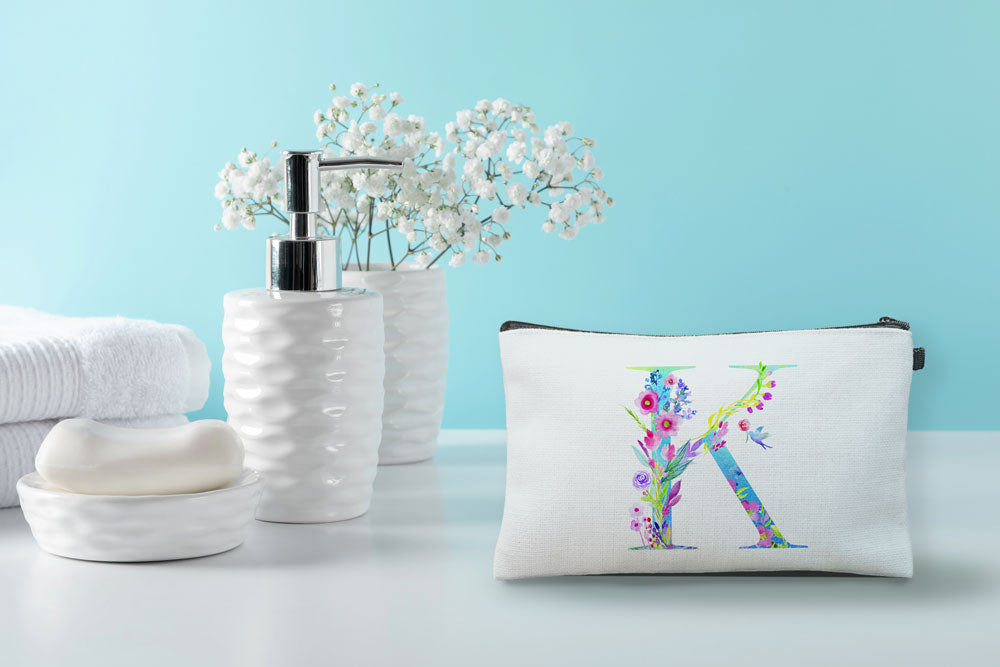Floral Watercolor Monogram Letter K Makeup Bag