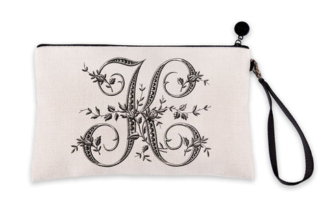 Vintage French Monogram Letter K Makeup Bag