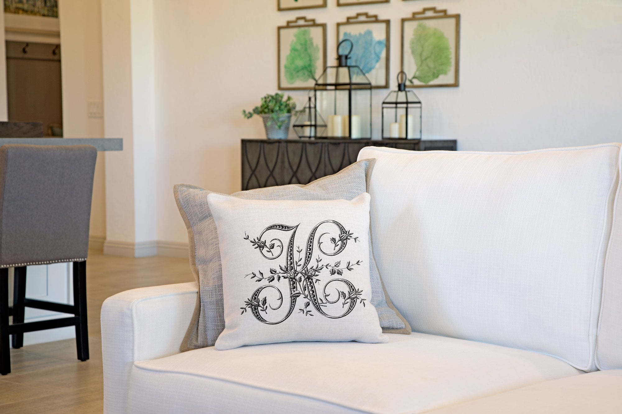 Vintage French Monogram Letter K Throw Pillow Cover